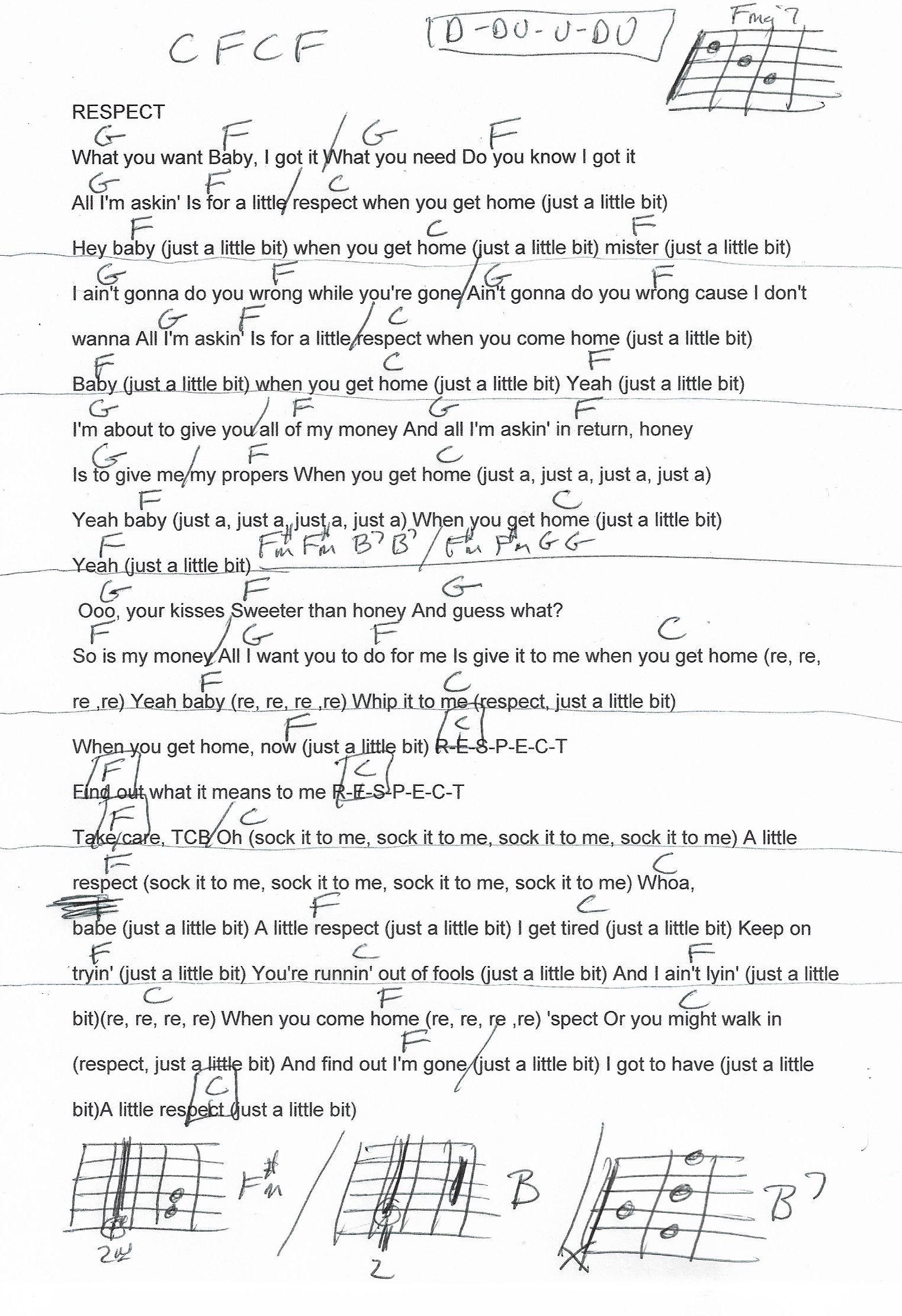Respect Aretha Franklin Guitar Chord Chart 2018 Guitar Lesson