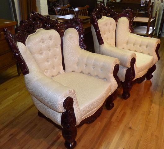 Marva's Place Used Furniture & Consignment Store | Set of 2 Custom Made Rosewood Victorian Chairs
