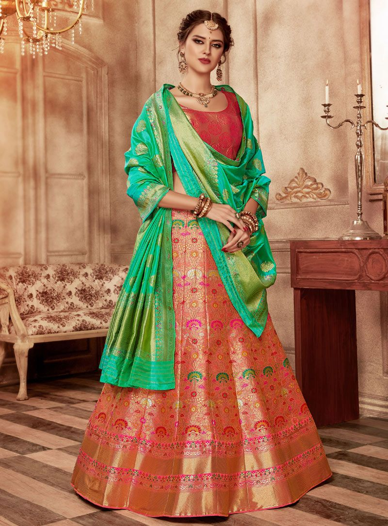 060788dd5 Buy Pink Banarasi Silk A Line Lehenga Choli 148440 online at best price  from vast collection of Lehenga Choli and Chaniya Choli at  Indianclothstore.com.