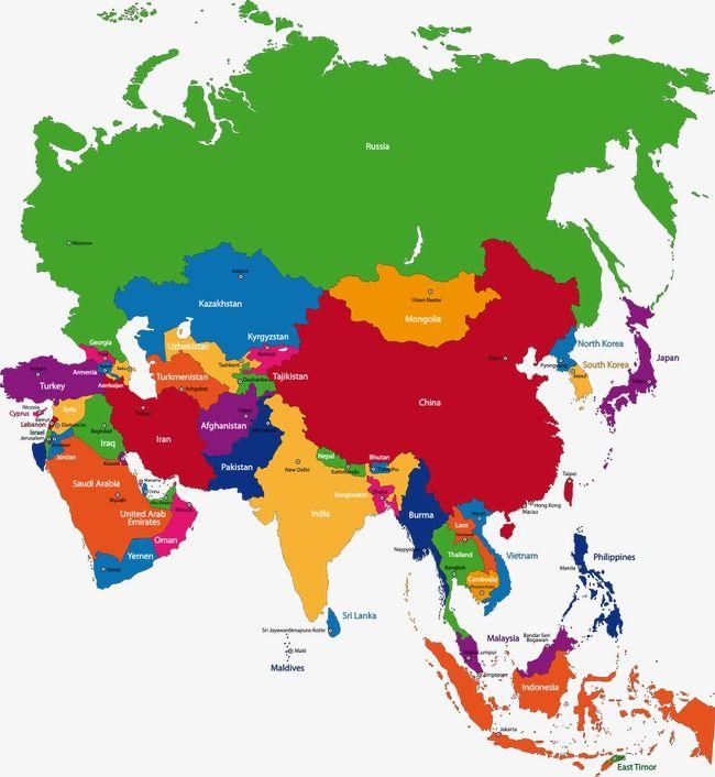 carte des pays d asie Carte De Vecteur De Pays De La Région De L'asie De L'est, L'asie
