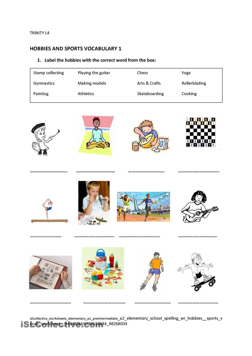 hobbies sports vocabulary sports and games vocabulary vocabulary worksheets y hobbies. Black Bedroom Furniture Sets. Home Design Ideas