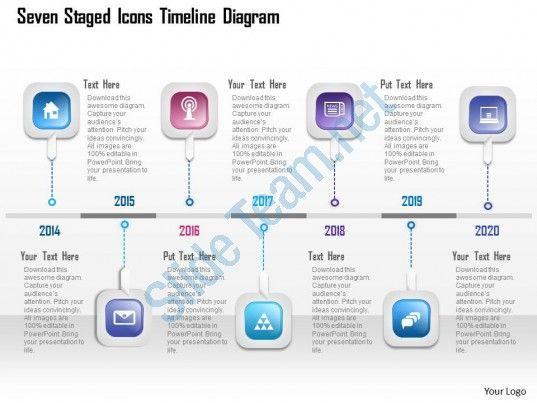 Aj Seven Staged Icons Timeline Diagram Powerpoint Template Slide - Powerpoint templates timeline