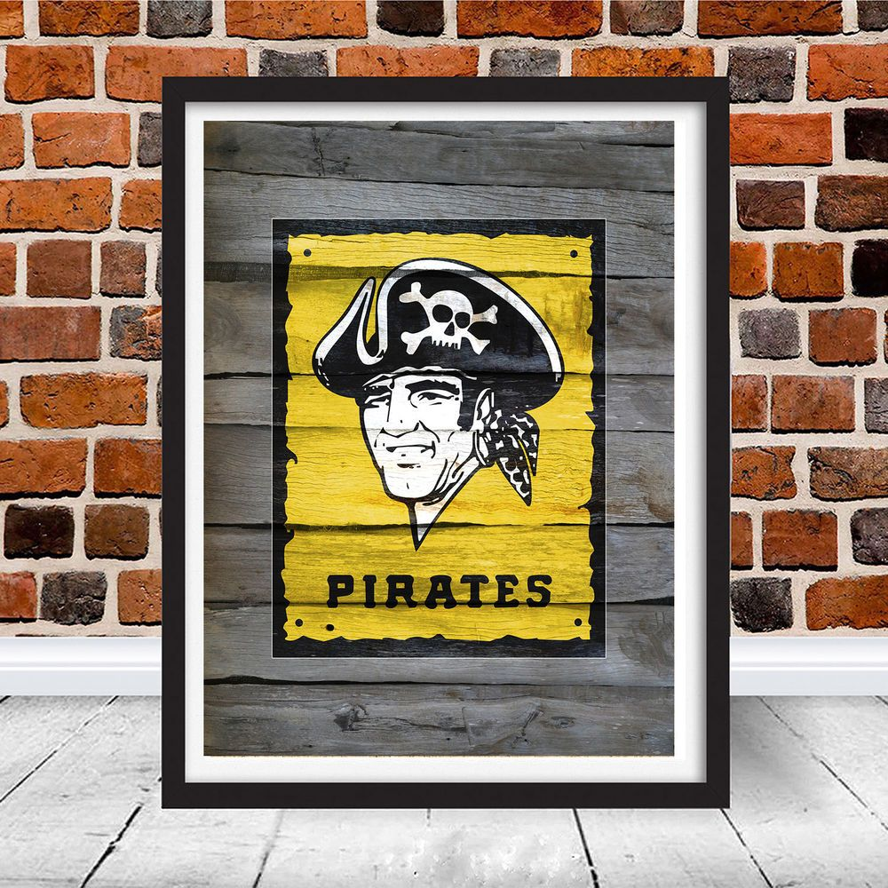 Vintage pittsburgh pirates mlb logo print looks like wood sign