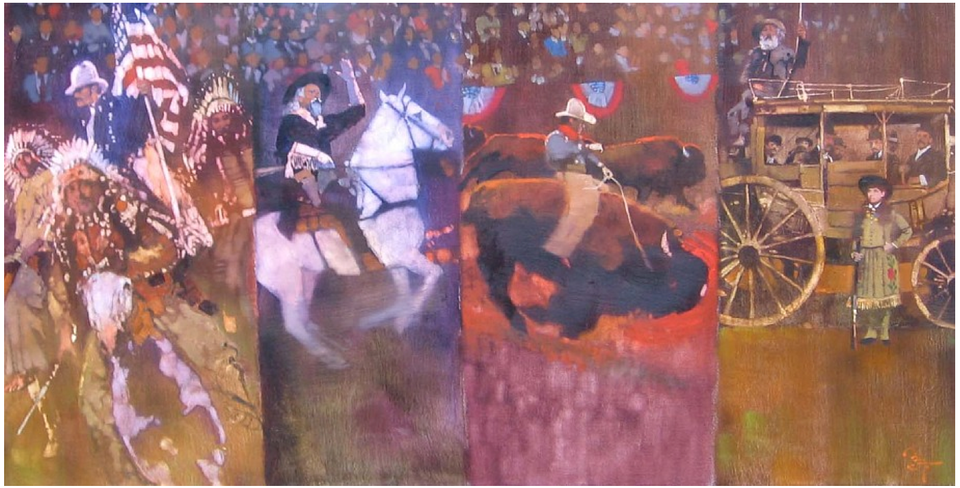 "Bernie Fuchs ""Wild West Show"" (four panels), 1996"