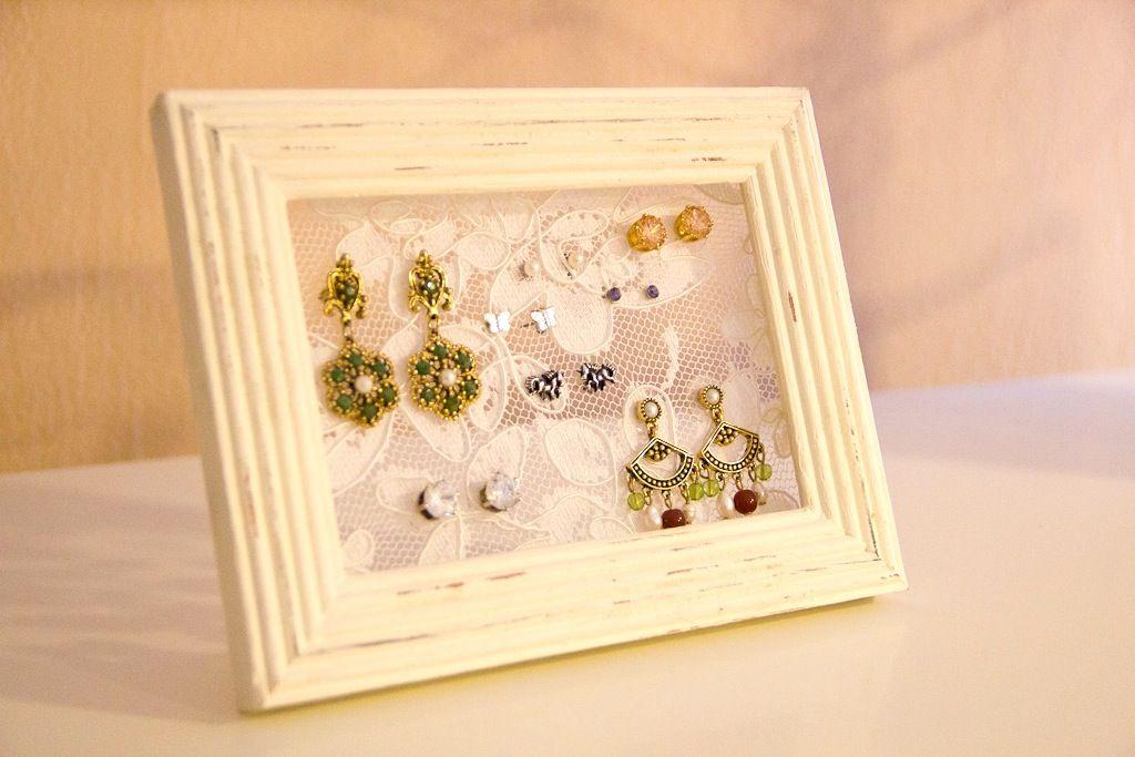 DIY Lace Picture Frame Earring Holder Diy earring holder Diy