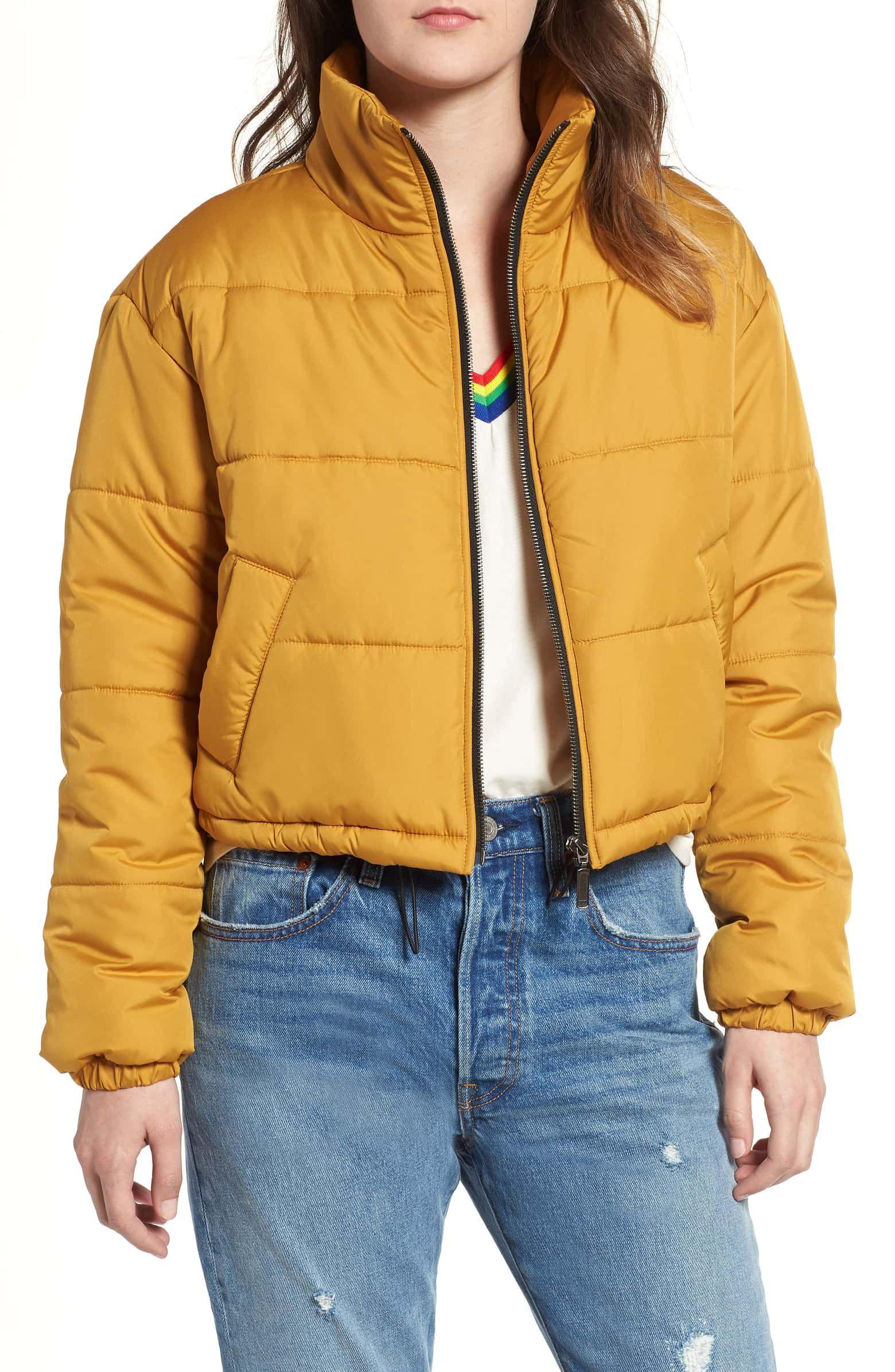 Bp Crop Puffer Jacket Regular Plus Size Nordstrom Yellow Puffer Jacket Stylish Winter Coats Jackets [ 2392 x 1560 Pixel ]