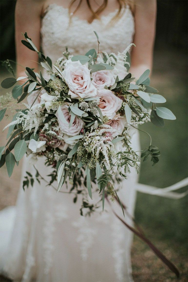 Sage wedding colors - muted floral and eucalyptus wedding bouquet ideas