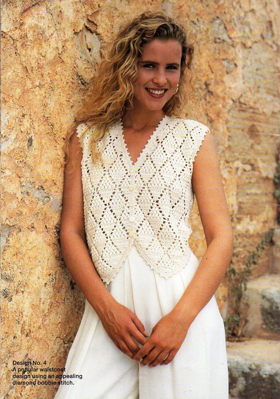 womens crochet waistcoat crochet pattern lacy crocheted top lacy ...