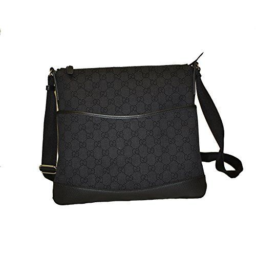 f4ae7c519656 Gucci Black Canvas GG Logo Crossbody Messenger Bag 374411 | Wish ...