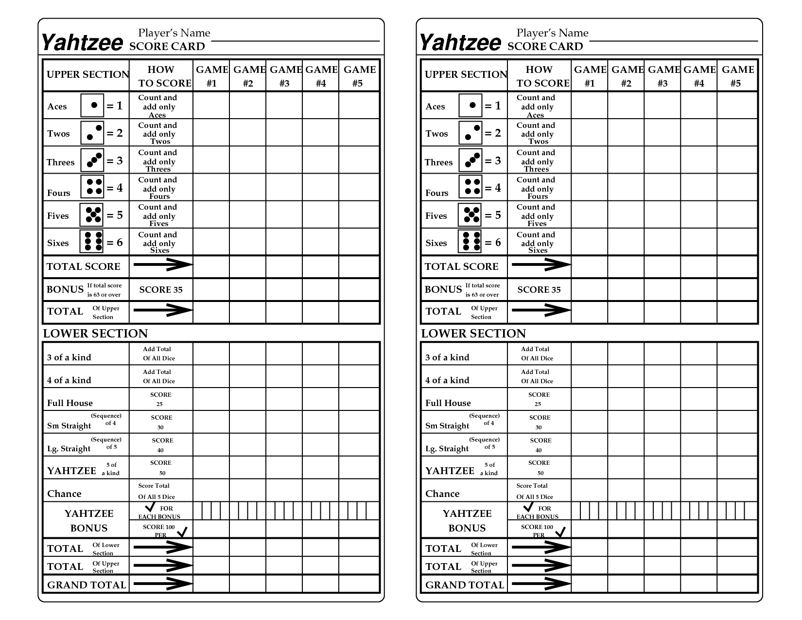 Shocking image with regard to yahtzee sheets printable