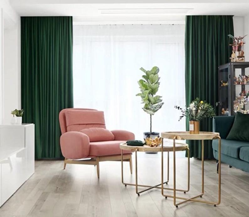 Emerald Green Luxury Matt Velvet Curtains Custom Made Curtain