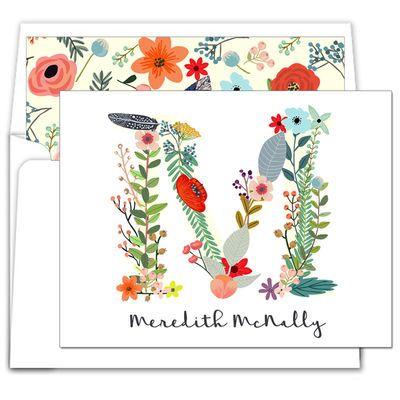 Floral Alphabet Foldover Note Cards
