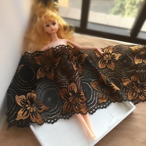 17cm Width Black + Gold Elastic Lace Trim, DIY Garment Accessories Elastic Lace Fabric, Sewing Swiss