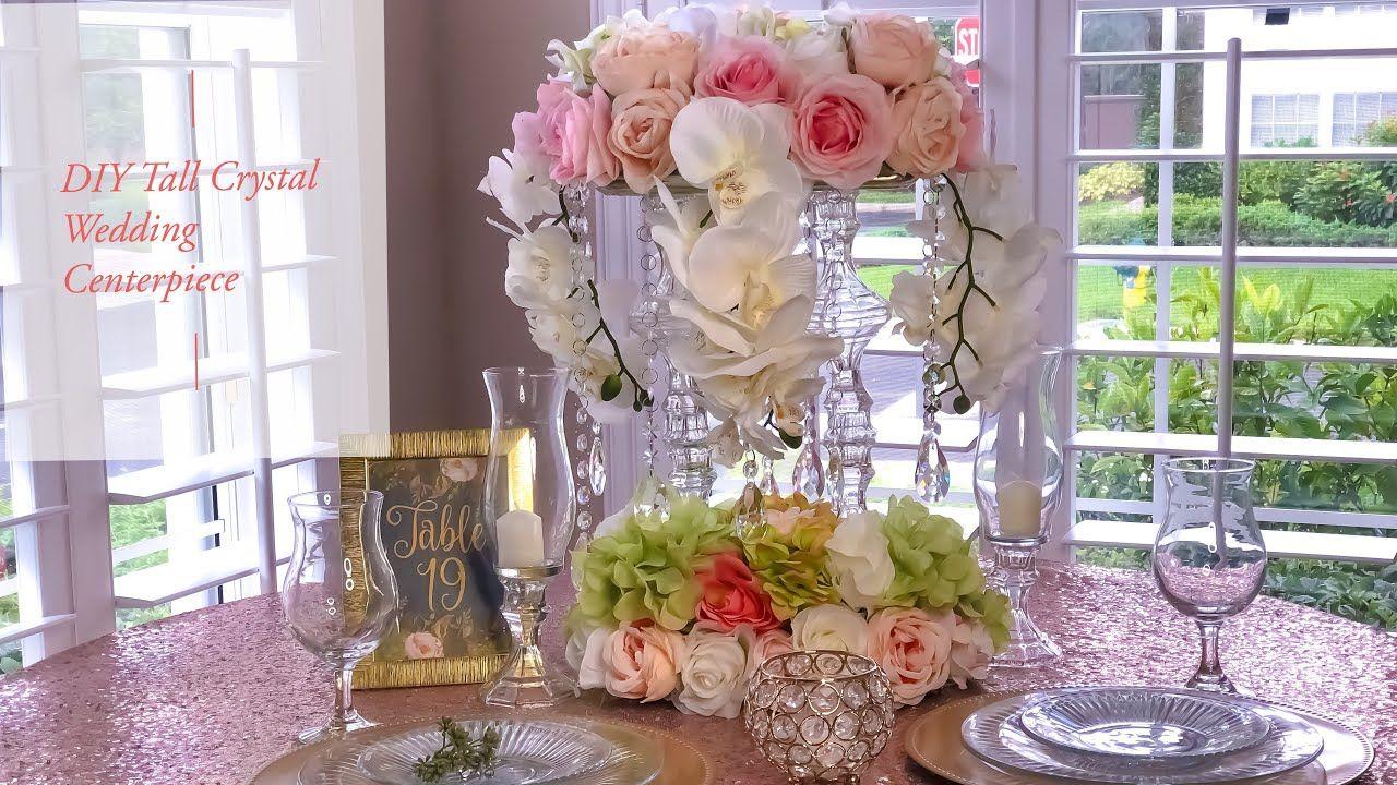 Diy Tall Tower Crystal Wedding Centerpiece Dollar Tree Youtube Crystal Centerpieces Wedding Wedding Centerpieces Tree Wedding Centerpieces
