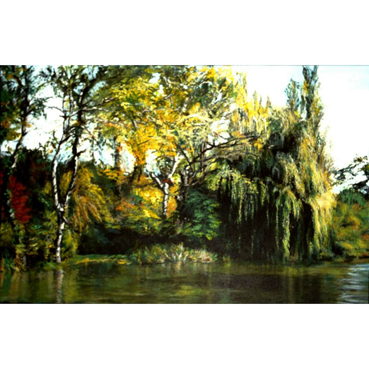 View on the Kamchia is a scene I painted based on a riverboat trip I took in Bulgaria, from a boat that was going up the river for the joy of it. The side of the river in view is unspoiled forest, and it was a lush display in October. The painting is acrylic on stretched canvas with painted sides. It is 24 inches high x 36 inches wide, and is $3,000.