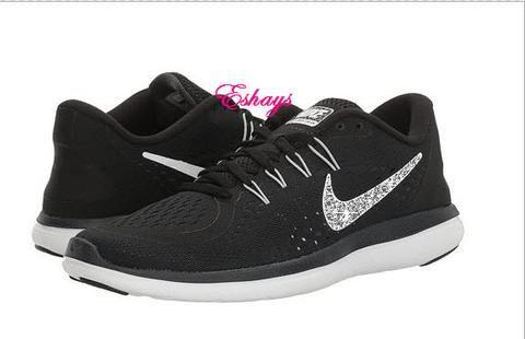 Crystallized Glitter Black White Nike Flex RN 2017  f20e6d8bb
