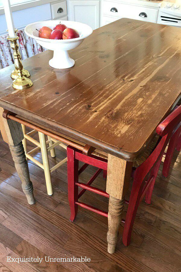 How To Refinish A Wooden Kitchen Table Using Burlap in ...