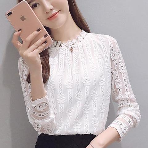 96e838e5 Women clothing New 2017 fashion plus size women's shirts Long sleeve white  Lace blouse shirt crochet Autumn hollow out blusas 1E