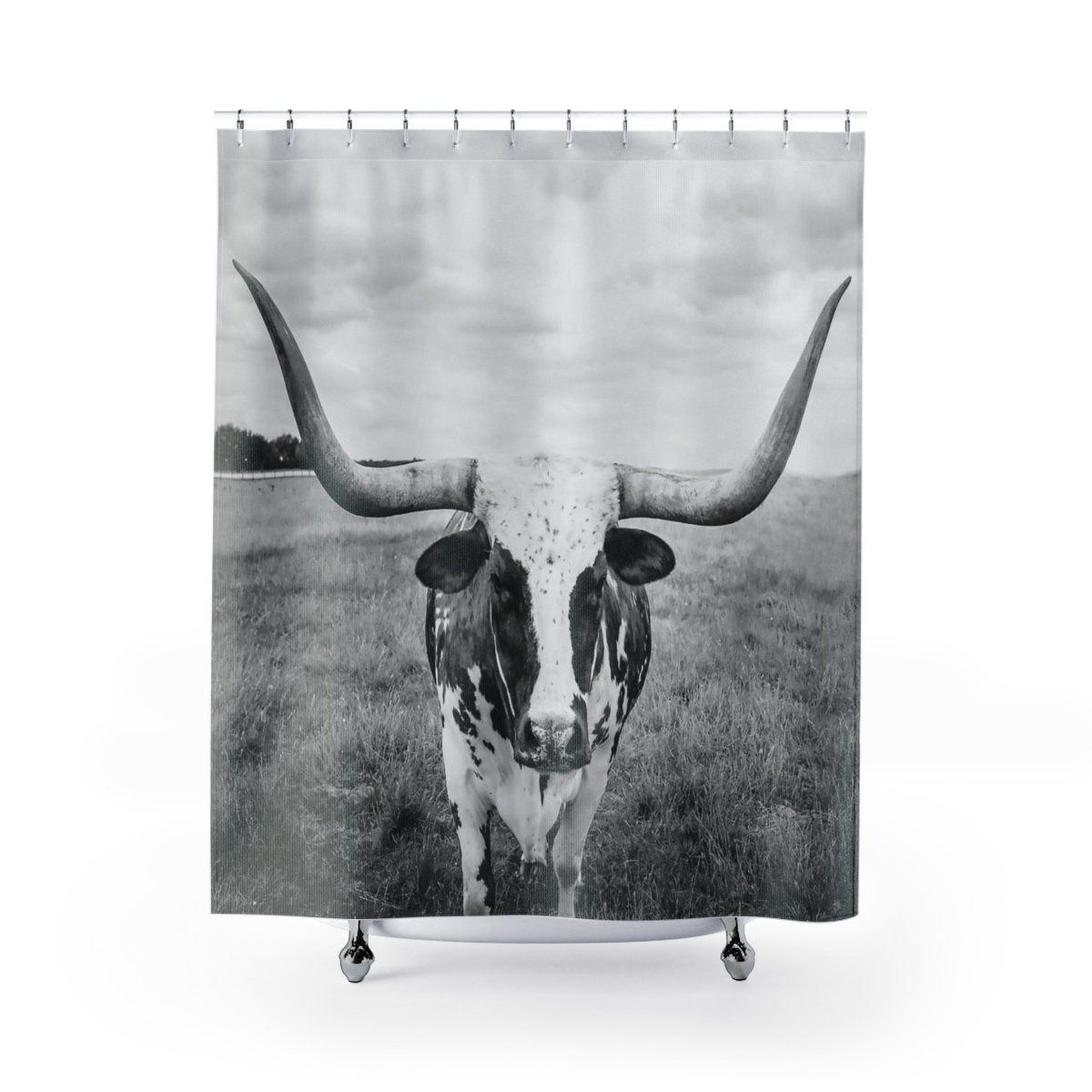 Texas Longhorn Shower Curtain Black And White Cow Bath Liner