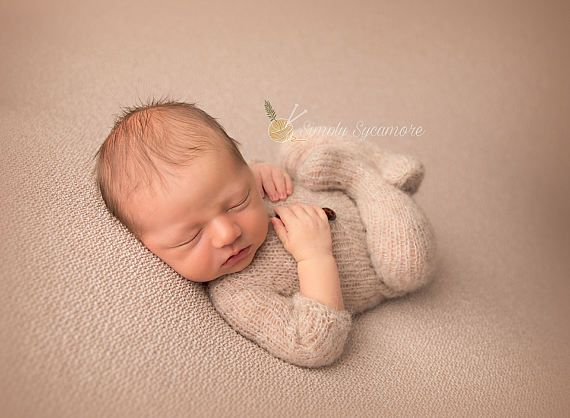 Winter Newborn Baby Photography Clothing Hand-Woven Mohair Bear Rompers+Hat Lot