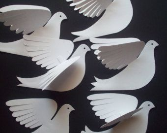 Paper BirdsSix Small 7.5 inch White Flying Paper by LorenzKraft