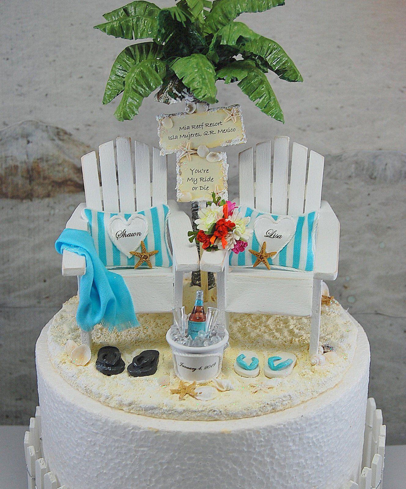 Beach Wedding 6 Inch Cake Topper Custom Colors 6 Inch Cake Base Handmade Personalized Adi Beach Wedding Cake Toppers Beach Wedding Cake Wedding Cake Toppers