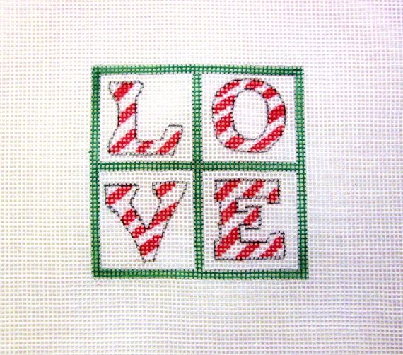 $11.95   LOVE Peppermint Candy Cane Handpainted by MarsyesShoppe on Etsy