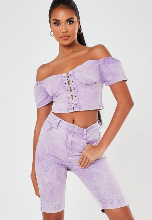 Lilac Co Ord Denim Eyelet Bustier Top