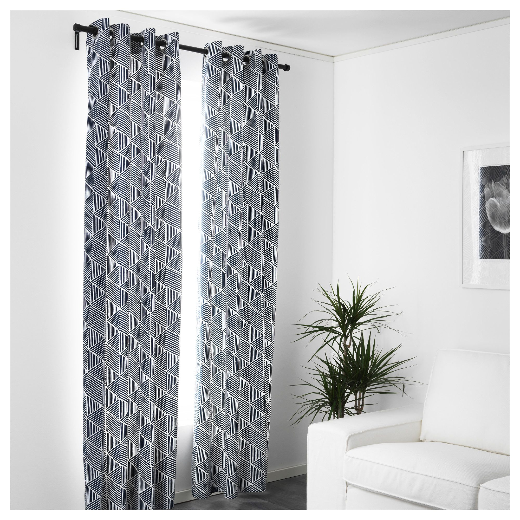 Ikea NunnerÖrt Curtains 1 Pair Blue White 145x250 Cm The Thick Darken Room And Provide Privacy By Preventing People Outside From Seeing