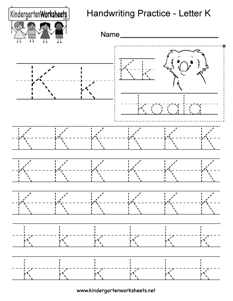 Worksheets Pre K Handwriting Worksheets letter k writing practice worksheet this series of handwriting alphabet worksheets can also be cut