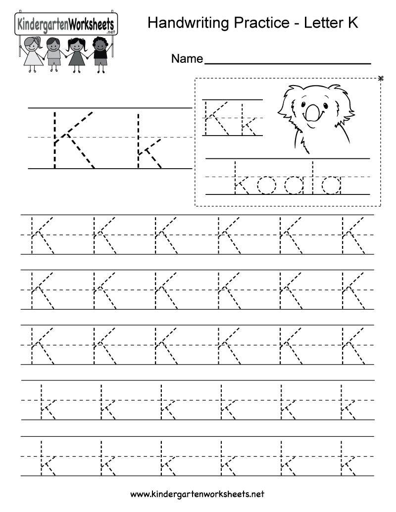 writing letter k