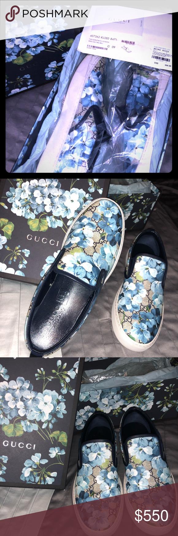 dac2921f2af Gucci GG Supreme Blooms Canvas Slip-On Sneakers Brand New Gucci slip-on  sneakers in GG Supreme Canvas with Blue Blooms Print. 🌺 Blue leather trim.