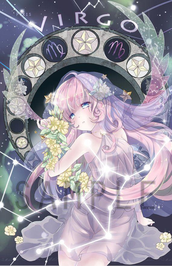 Virgo Zodiacal Constellations Art Print Etsy In 2021 Anime Zodiac Constellations Art Print Constellation Art