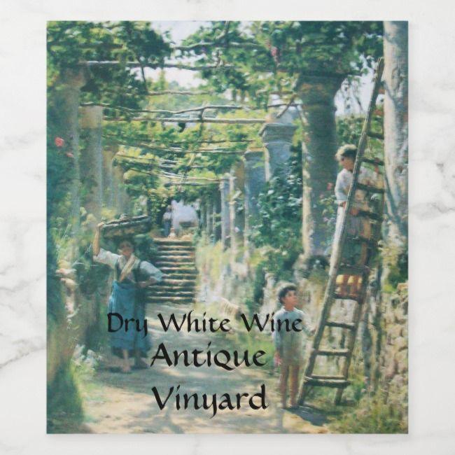 OLD GRAPE VINEYARD HARVEST WINE TASTING PARTY WINE LABEL