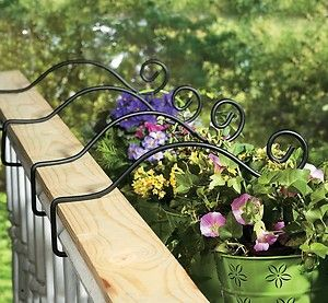 Set Of 4 Metal Deck Rail Plant Hanger Planter Hooks New Ebay My