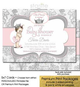Vintage baby girl shower princess invitation pink gray pinterest pink and gray princess baby shower invitation girl filmwisefo