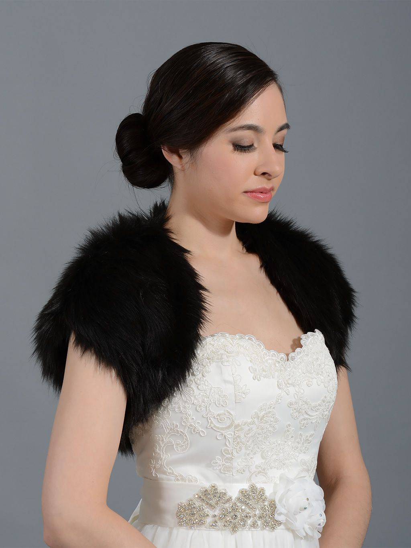 Black faux fur shrug bolero wrap FS004_Black