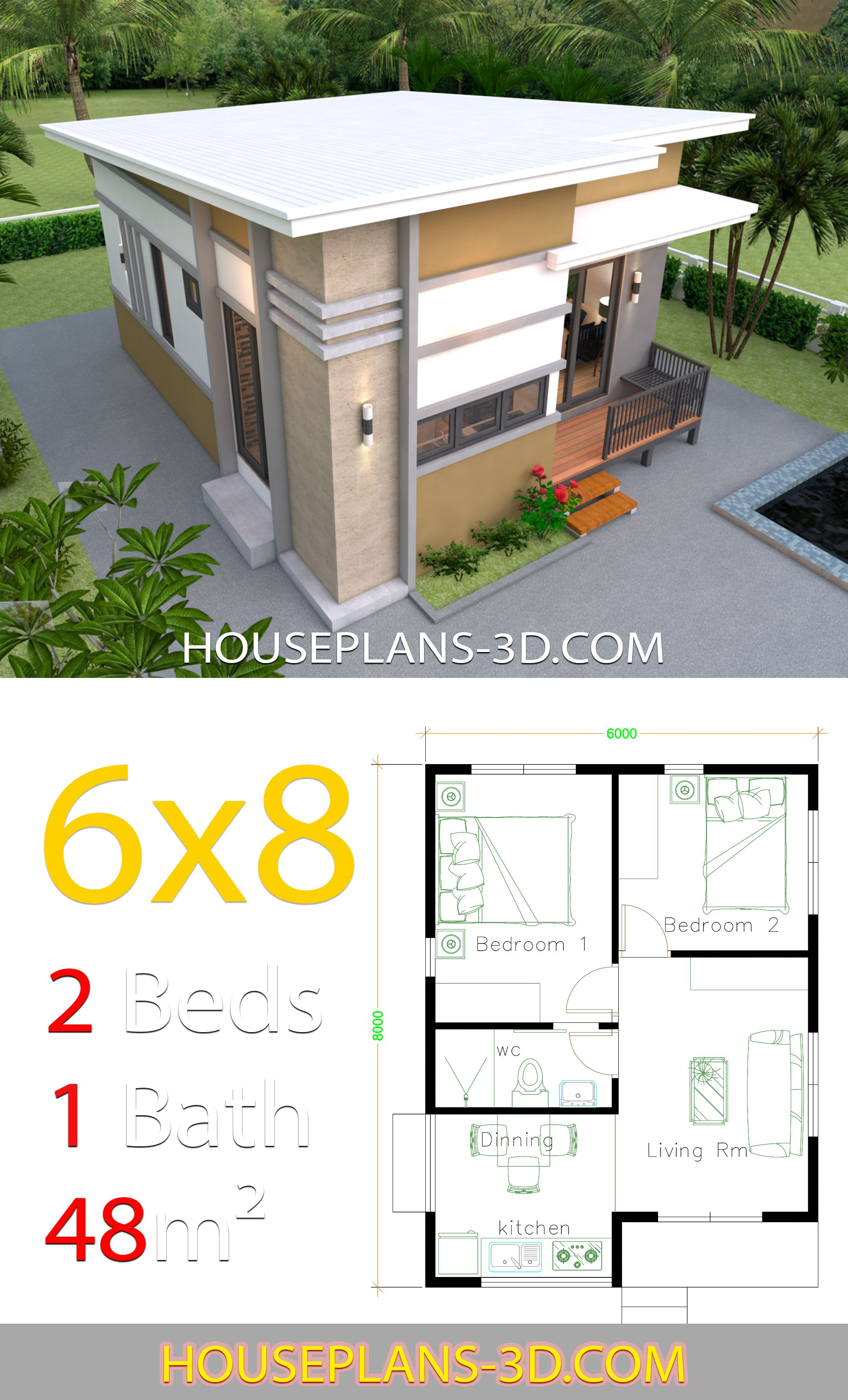House Design 6x8 With 2 Bedrooms House Plans 3d Small House Design Plans Small House Design Simple House Plans