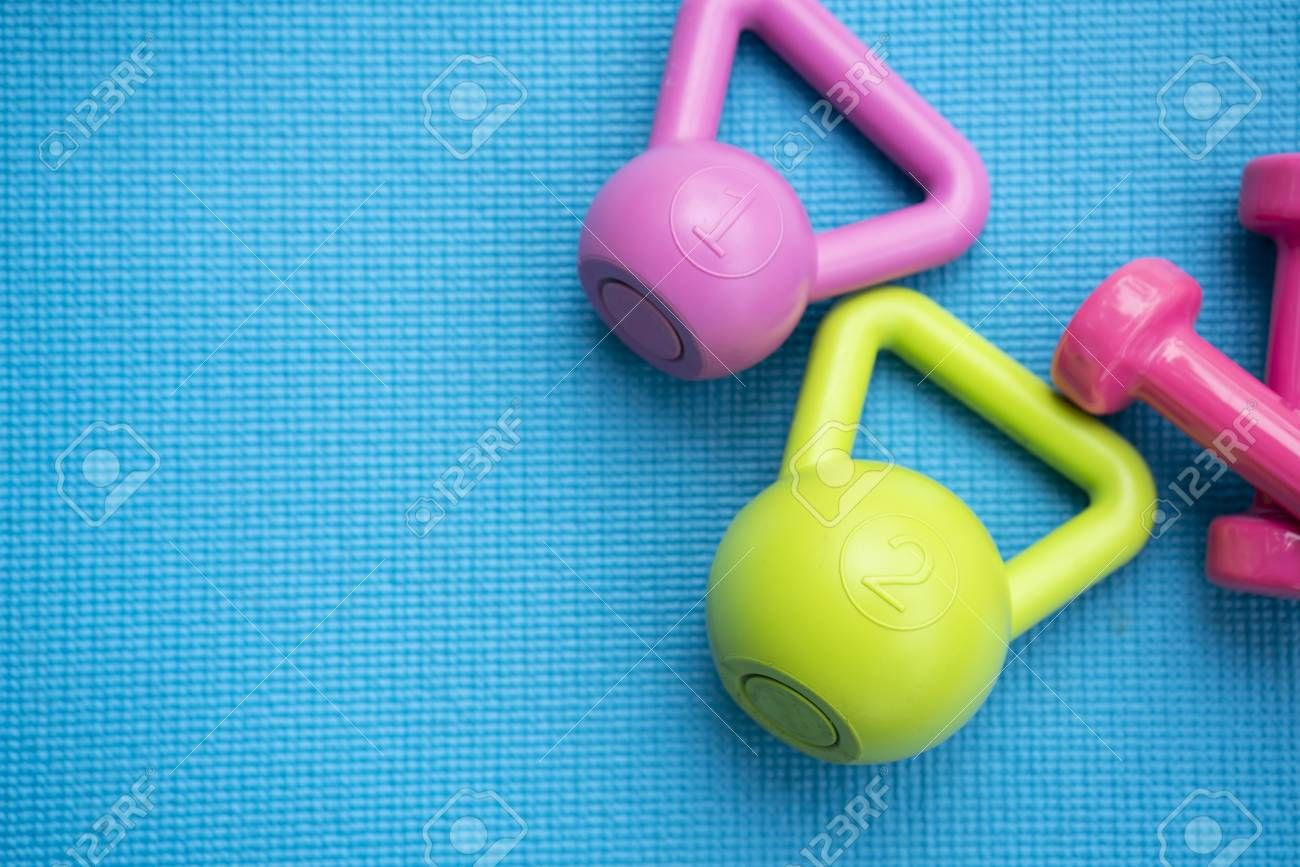 dumbbell and kettlebell on yoga mat, fitness healthy and sport concept Stock Photo , #AFFILIATE, #ma...