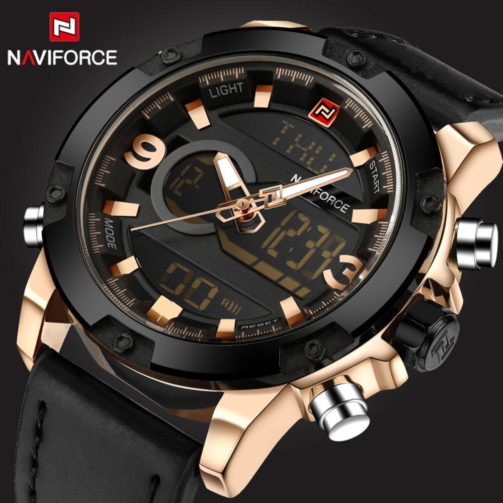 78acf1f1103a Naviforce deporte ejército militar relojes hombres marca de lujo de cuero  relojes del cuarzo de los hombres led digital reloj relogio masculino 2017  en ...