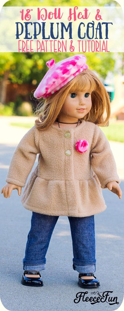 Adorable 18 Inch Doll Peplum Coat and Hat FREE Pattern! #dollclothes
