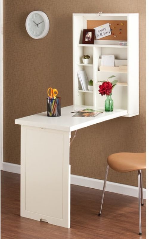 Foldable White Floating Desk Wall Mount Folding Writing Space