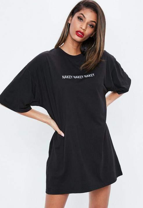 8a3a1de8a1 Missguided Black Nakey Nakey Nakey Graphic Oversized T Shirt Dress ...