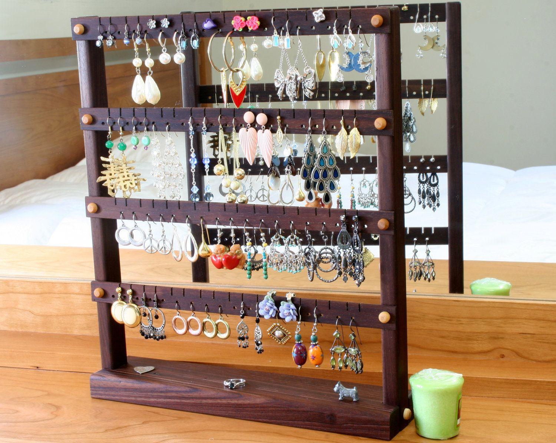 Bracelet Organizer Ideas Earring Holder Jewelry Organizer Stand Peruvian Walnut Wood