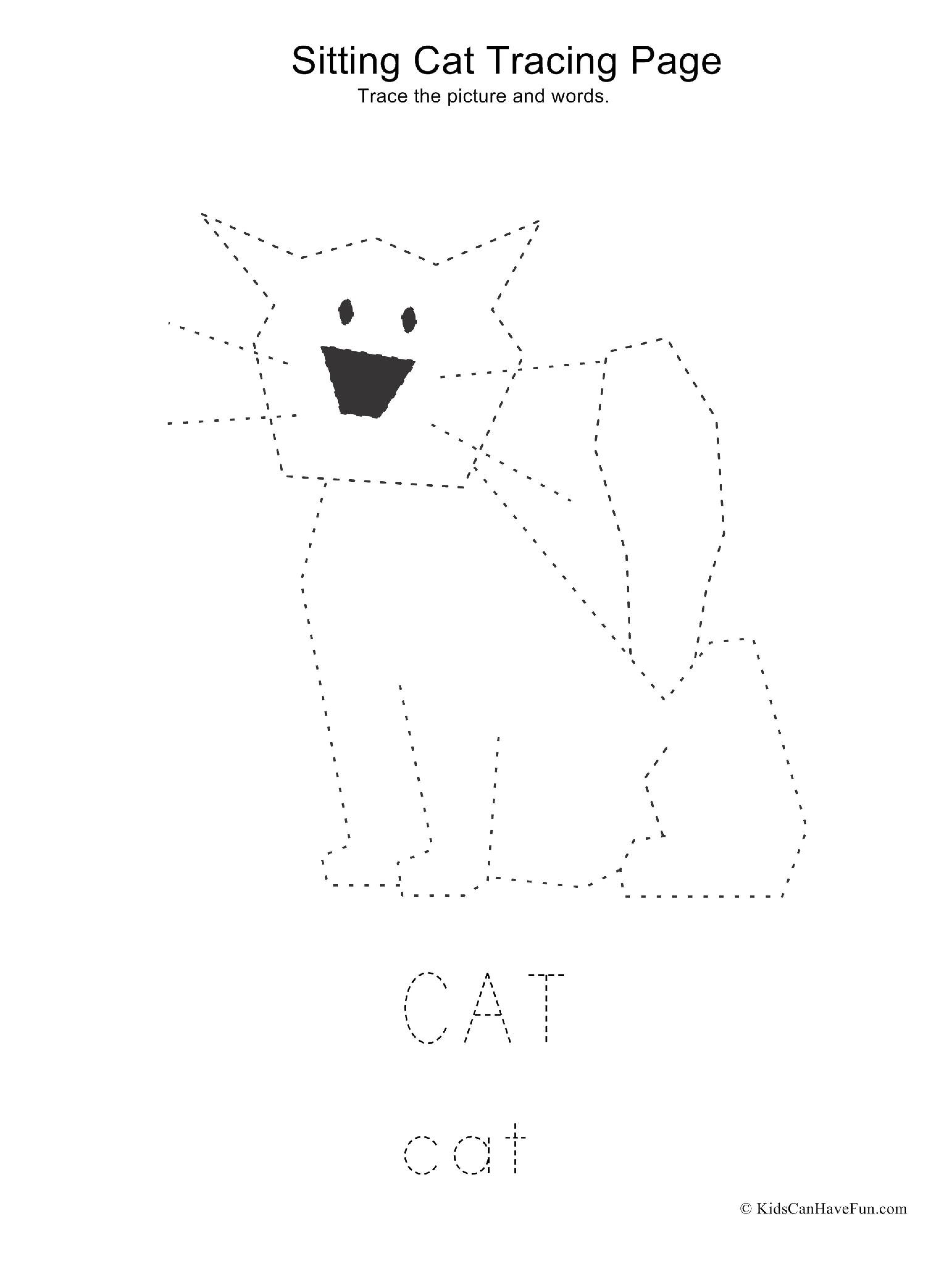 Cat Sitting Tracing Page In