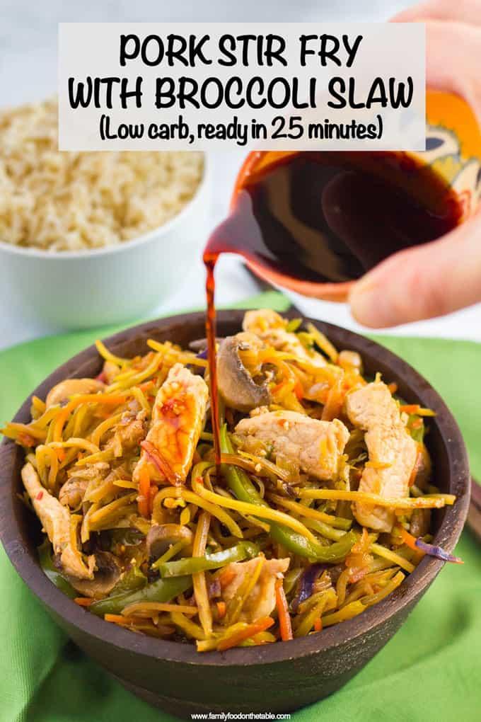 Pork and broccoli slaw stir fry {low-carb} - Family Food on the Table