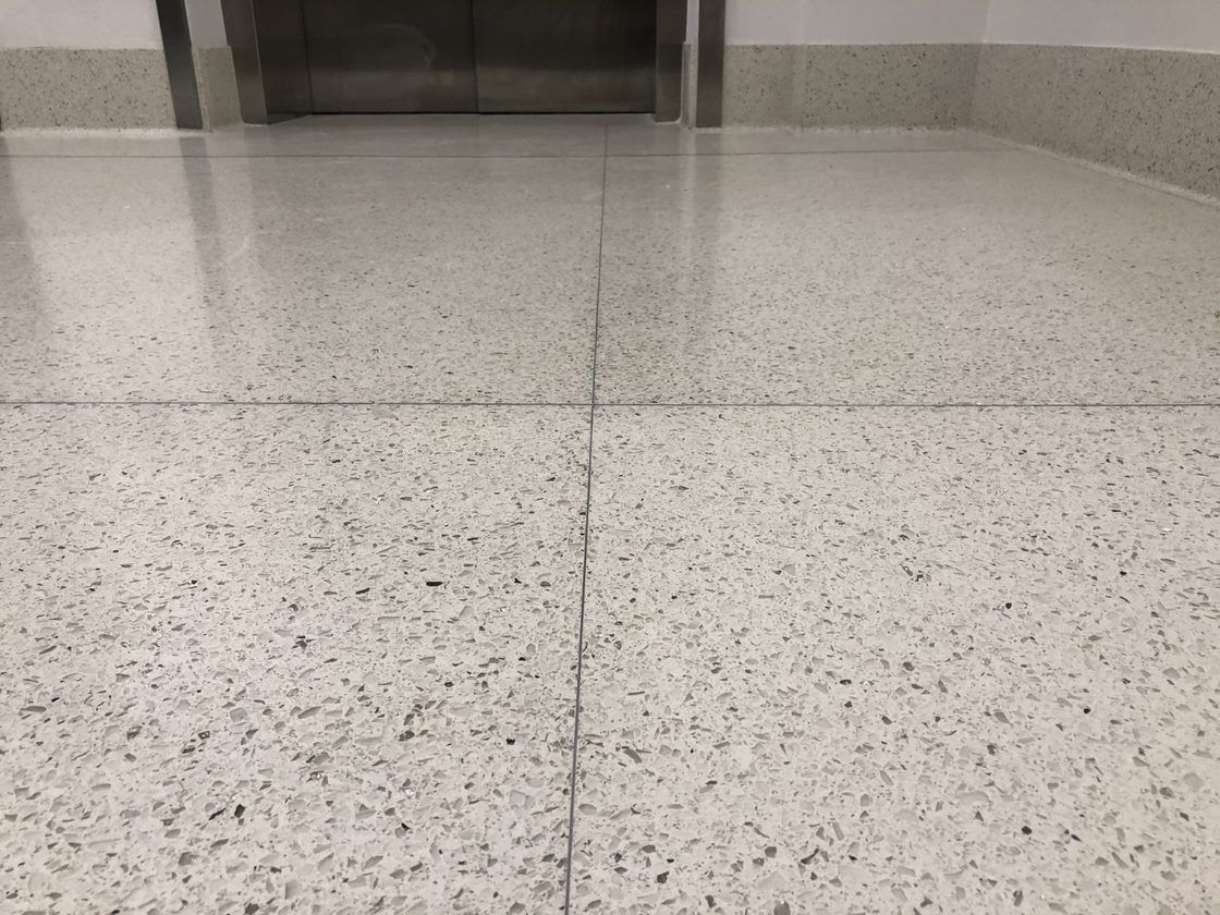 White Terrazzo Floor Installed At Cdia Airport Using 100
