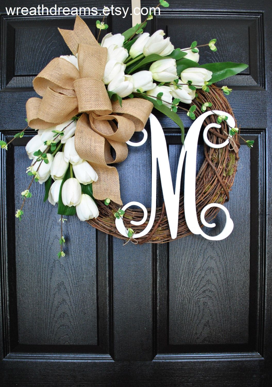 A Beautiful Refreshing Year Round Wreath Decorated With White Tulips Complemented By An Over Sized Natural Burlap Bow