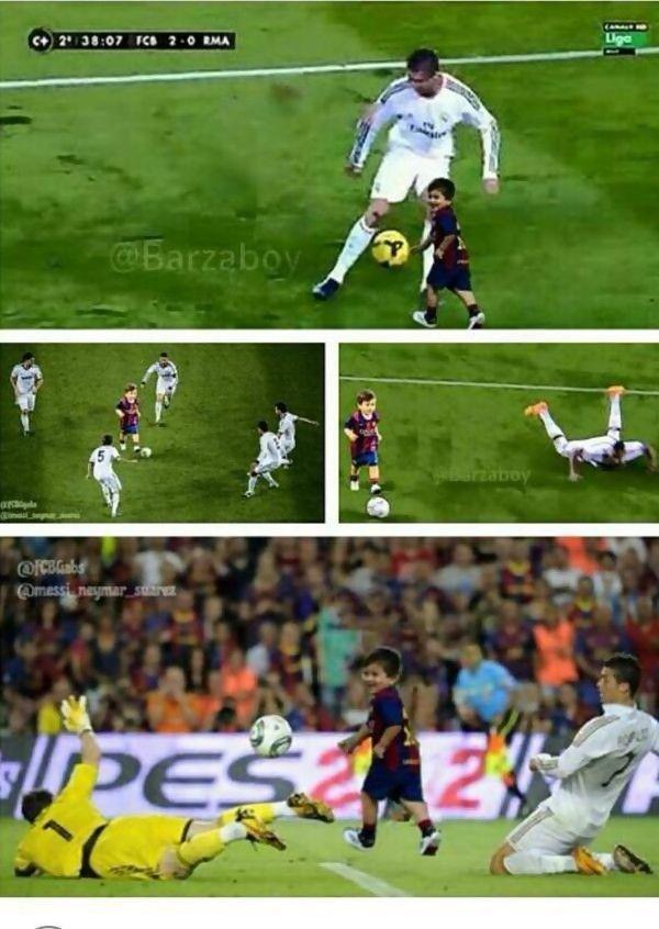 Gambar Gambar Lucu Thiago Messi Ejek Dan Perdaya Ronaldo Soccer Highlights Messi Soccer Funny