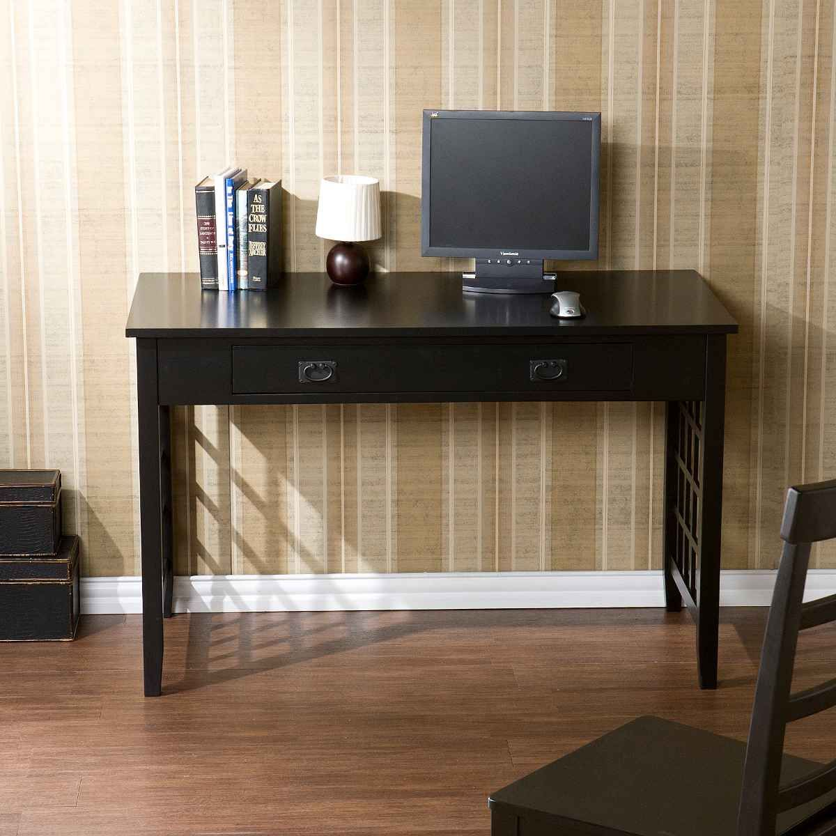 Laticce Computer Desk with Drawer from SEI   Dark wood desk, Black